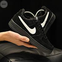 ЗИМА!!! ЗАМШ! Чоловічі кросівки Nike Air Force Low Black Winter, фото 1
