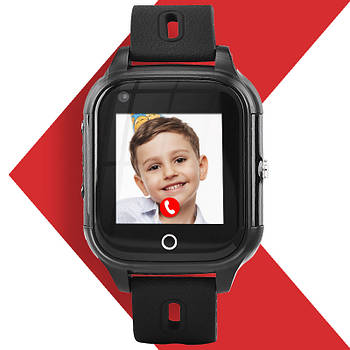 Детские умные часы с GPS  JETIX DF100 влагозащищенные с 4G видеозвонком и прослушкой (Black)