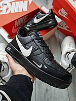 ЗИМА! Чоловічі кросівки Air Force Low 19 Black/White Winter, фото 1