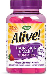 Nature's Way Hair Skin & Nails with Collagen (100 мг) биотин 2500 мкг 60 жевательных конфет