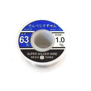 Припой для пайки ПОС 63, 1.0мм с флюсом, катушка 70г