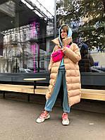 Женское теплое стильное пальто пуховик из матовой плащевки, утеплитель аэропух с тинсулейтом.