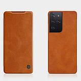 Захисний чохол-книжка Nillkin для Samsung Galaxy S21 Ultra Qin leather case Brown Коричневий, фото 6