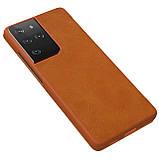 Захисний чохол-книжка Nillkin для Samsung Galaxy S21 Ultra Qin leather case Brown Коричневий, фото 4
