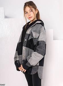 Детская подростковая кашемировая рубашка - пальто в клетку для девочек 4-12 лет черная