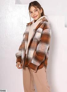 Детская подростковая кашемировая рубашка - пальто в клетку для девочек 4-12 лет бежевая