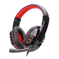 Гарнитура SOYTO SY733MV Черно-Красная для компьютера ноутбука смартфона музыкальная игровая эргономичная