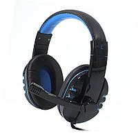 Гарнитура SOYTO SY733MV Черно-Синяя для компьютера ноутбука смартфона музыкальная игровая эргономичная USB