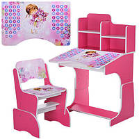 Парта детская со стулом Bambi B2071-9-2 Розовая. Детская парта. Парта с алфавитом