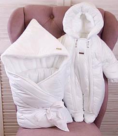 Зимний конверт одеяло с комбинезоном для новорожденных Finland+Вьюга белый
