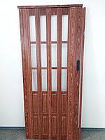 Двери гармошка полуостекленные черешня 860х2030х12мм
