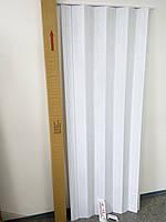 Гармошка ширма №1 білий ясен 820х2030х0,6 мм двері розсувні міжкімнатні пластикова глуха