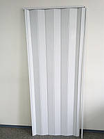 Дверь гармошка глухая  раздвижная белый ясень №1 размер 1000*2030*6 мм