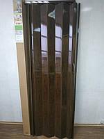 Дверь гармошка глухая дуб темный №4 раздвижная пластиковая1000*2030*6 мм