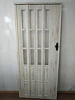 Дверь гармошка полуостекленная 860х2030х12мм  дуб беленый 907