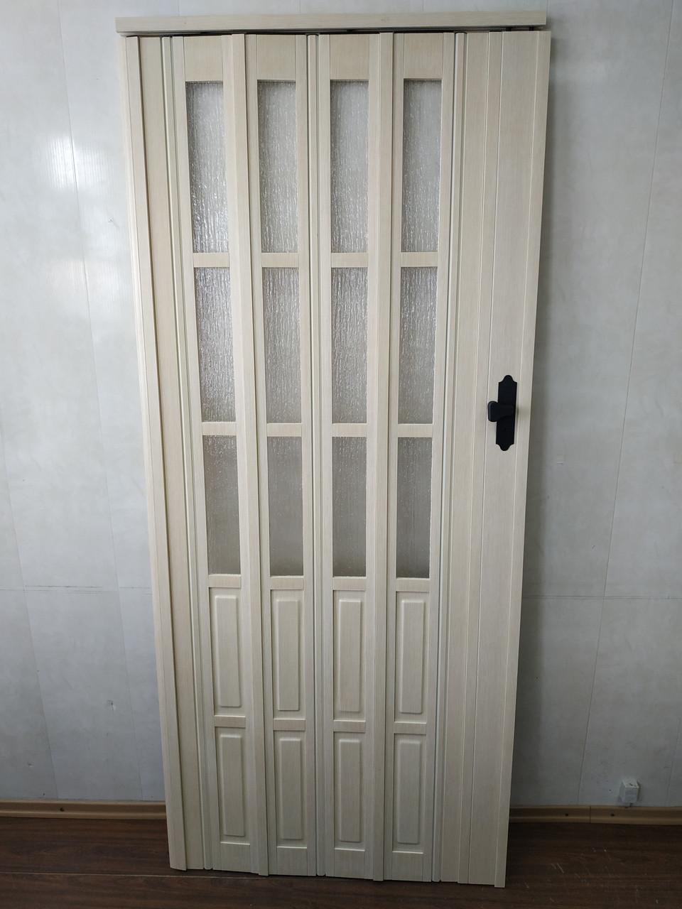 Дверь гармошка полуостекленная 860х2030х12мм  кедр 911