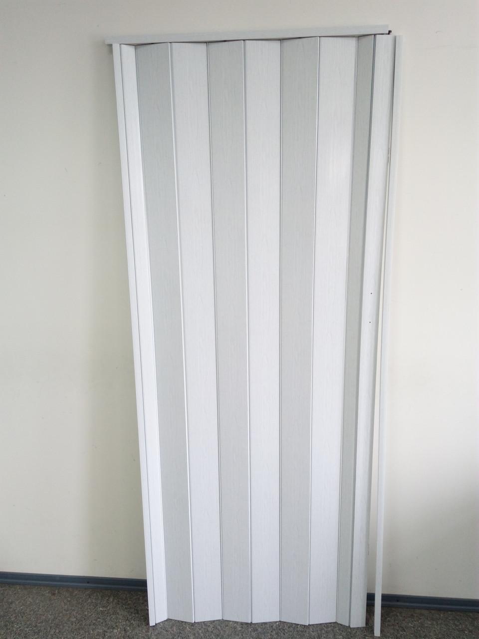 Дверь складная гармошка 610 белый ясень 880*2030*10 мм элит