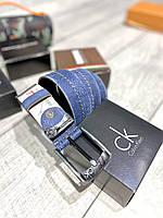 НОВИНКА! Чоловічий ремінь з натуральної шкіри під джинси синього кольору