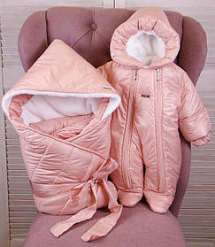 Зимний конверт одеяло с комбинезоном для новорожденных Finland+Вьюга розовый