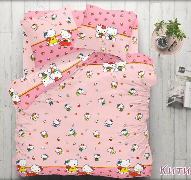 Комплект детского постельного полуторного белья Китти, Бязь Люкс, Тиротекс, розовый