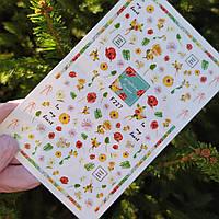 Наклейки для ногтей цветы мак,роза и листочки №227