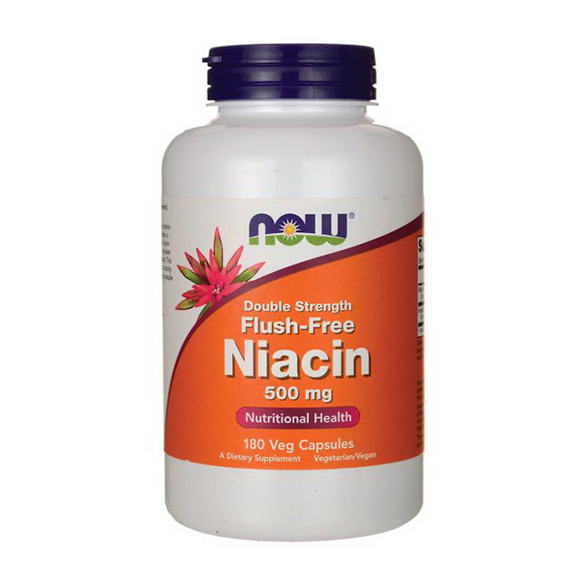 Ниацин 500 мг двойной силы Now Foods Flush-Free Niacin 500 mg Double Strength (180 veg caps)