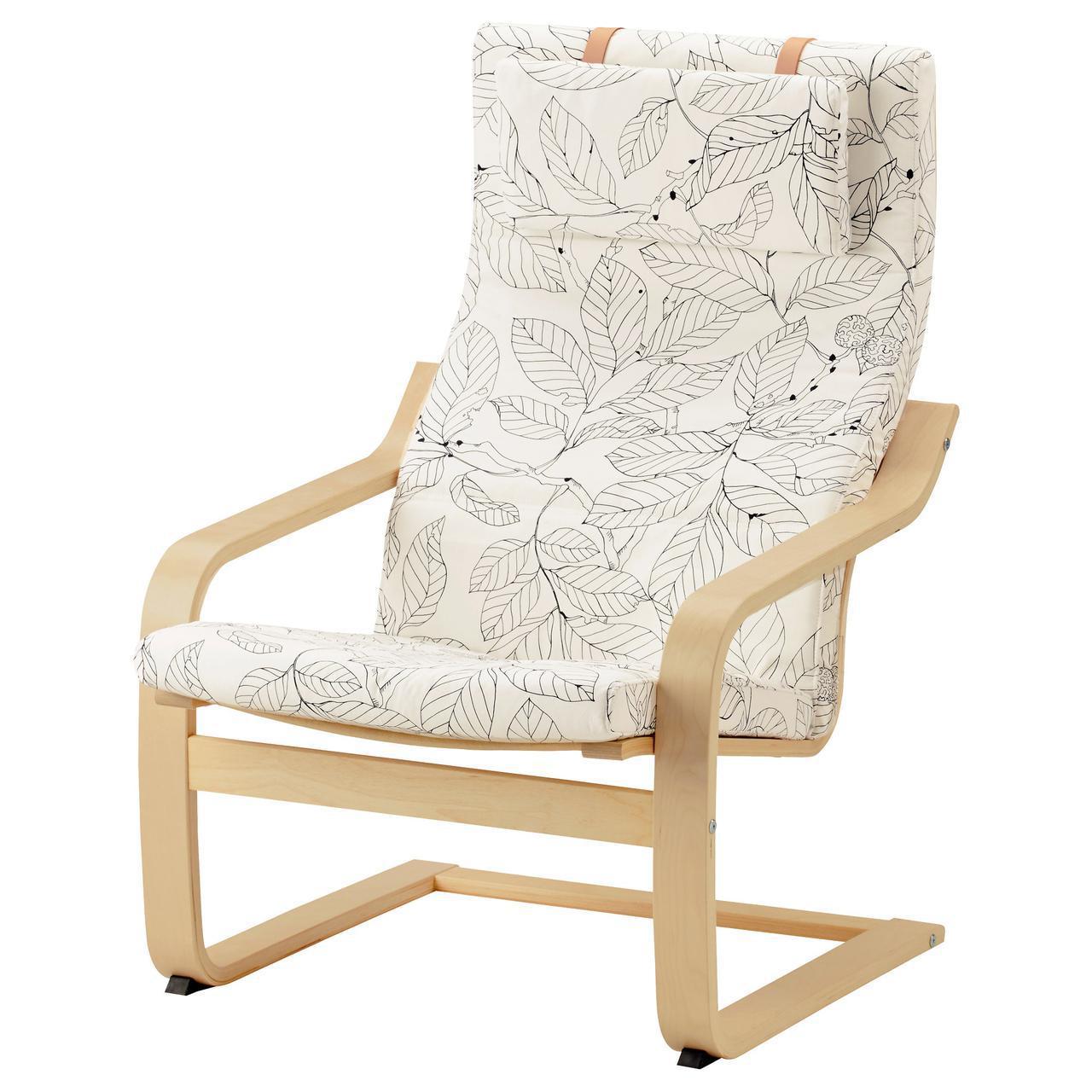 IKEA POANG (892.866.31) ПОЭНГ Кресло, шпон дуба, беленый / Висланда черный / белый