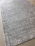 Сірий сучасний килим з геометричним малюнком, фото 2
