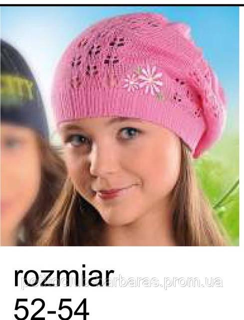 Берет для девочки, ажурный с цветком  (Польша)