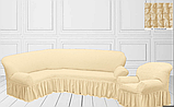 Натяжные чехлы на угловой диван и кресло турецкие с оборкой Кремовый жатка Разные цвета, фото 2