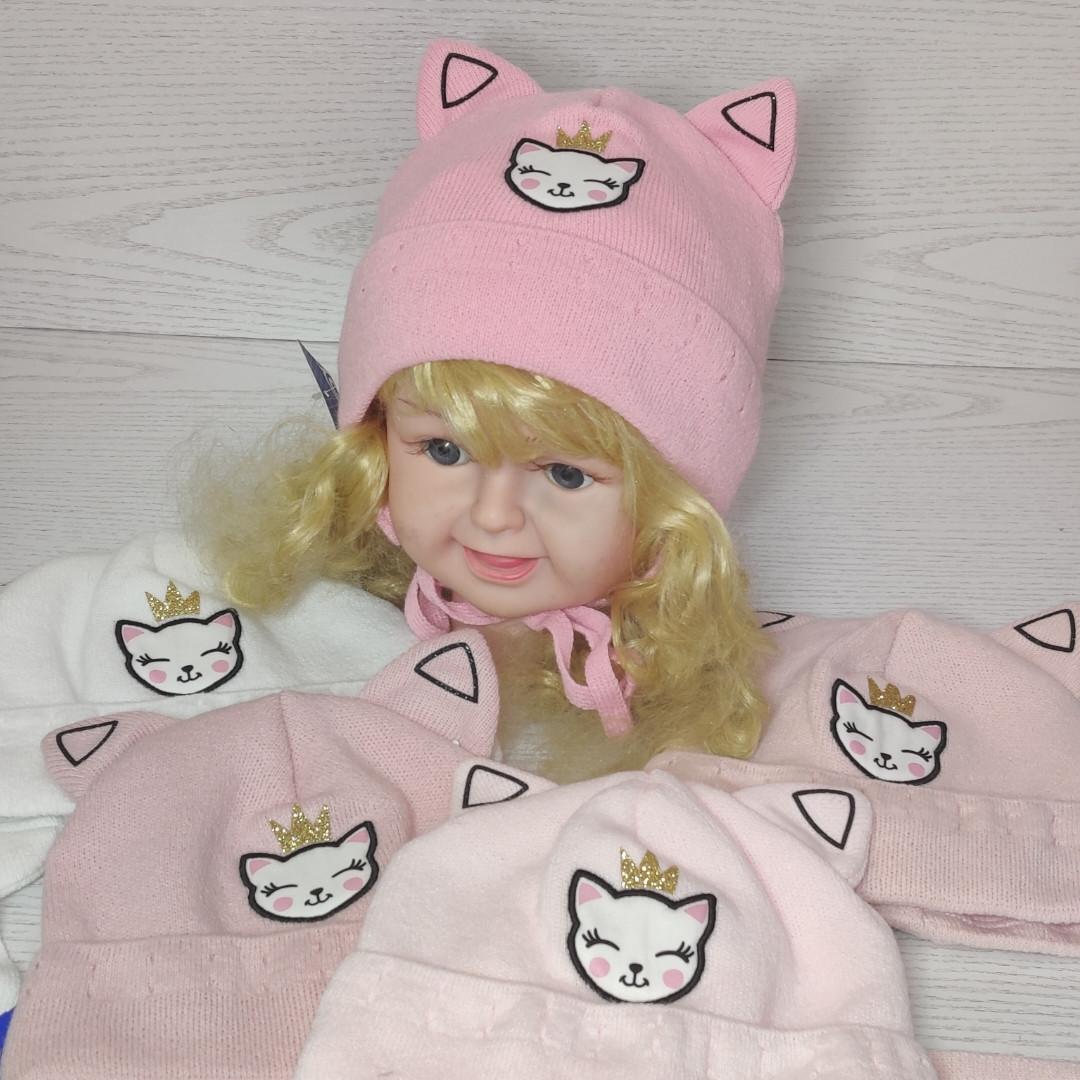 Шапка для девочки с ушками котик демисезонная Размер 42-44 см