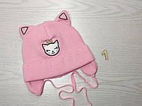 Шапка для девочки с ушками котик демисезонная Размер 42-44 см, фото 2