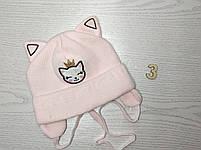 Шапка для девочки с ушками котик демисезонная Размер 42-44 см, фото 4