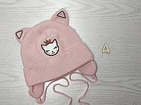Шапка для девочки с ушками котик демисезонная Размер 42-44 см, фото 5