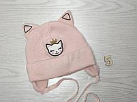 Шапка для девочки с ушками котик демисезонная Размер 42-44 см, фото 6