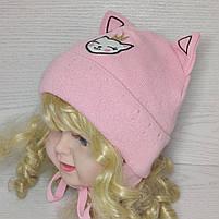 Шапка для девочки с ушками котик демисезонная Размер 42-44 см, фото 8