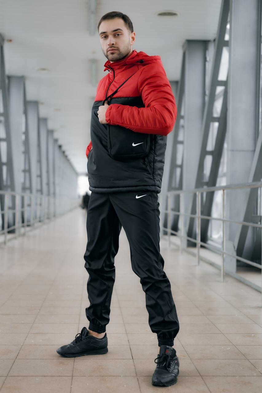 Ветровка утепленная Анорак Найк, Nike красно- черный + Штаны President  + подарок Барсетка