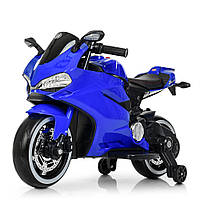 Детский электромотоцикл. Скорость 6 м/ч. Кожаное сиденье. Мягкие колеса. Подсветка колес. Синий. M 4104EL-4
