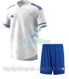 Футбольная форма Adidas  CONDIVO 20 бело-синяя