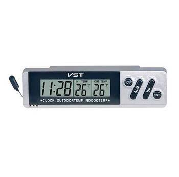 Автомобильные часыVST 7067 с будильником, электронные, серые