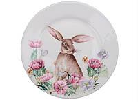 """Декоративная фарфоровая тарелка """"Пасхальный кролик"""", диаметр 21 см"""