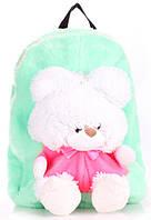 Рюкзак детский с Мишкой Poolparty backpack-teddybear-green бирюзовый