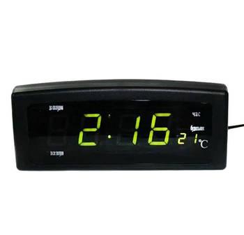 Электронные часы настольные Caixing CX-818 с зеленой подсветкой и термометром, черные