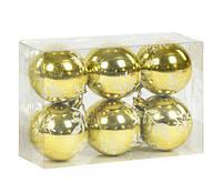 """Уценка. Ёлочная игрушка """"Шары"""" 5 см, 6 штук (золотистые) - треснула упаковка C39569"""
