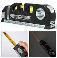 Лазерный уровень с рулеткой /вертикаль/гориз/крест FIXIT LASER PRO 3, удобная линейка, компактный