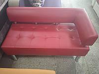 Офисный диван в офис Стронг (MebliSTRONG) без одного подлокотника - малиновый матовый цвет