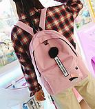 Оригинальный розовый рюкзак с пушком, фото 6
