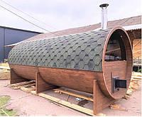Деревянная баня бочка с панорамным окном из термодерева под ключ 6х2.4 м