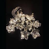Новогодняя Внутренняя Гирлянда Шторка Пластиковые Звездочки Лампочки Желтый