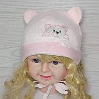 Шапка для девочки с ушками с заворотом на завязках демисезонная Размер 40-42 см, фото 7